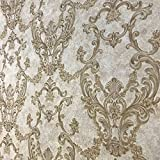 Embossed Vinyl Non-Woven Slavyanski wallcovering victorian damask 3D vintage retro pattern Wallpaper rolls ivory brown gold bronze metallic textured rust rustic plaster effect glitters paste the wall
