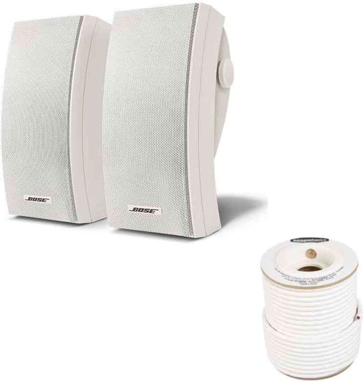 Bose 251 Wall Mount Outdoor Environmental Speakers (White) with AmazonBasics Speaker Wire - 14-Gauge, 99.9% Oxygen-Free Copper, 100 Feet