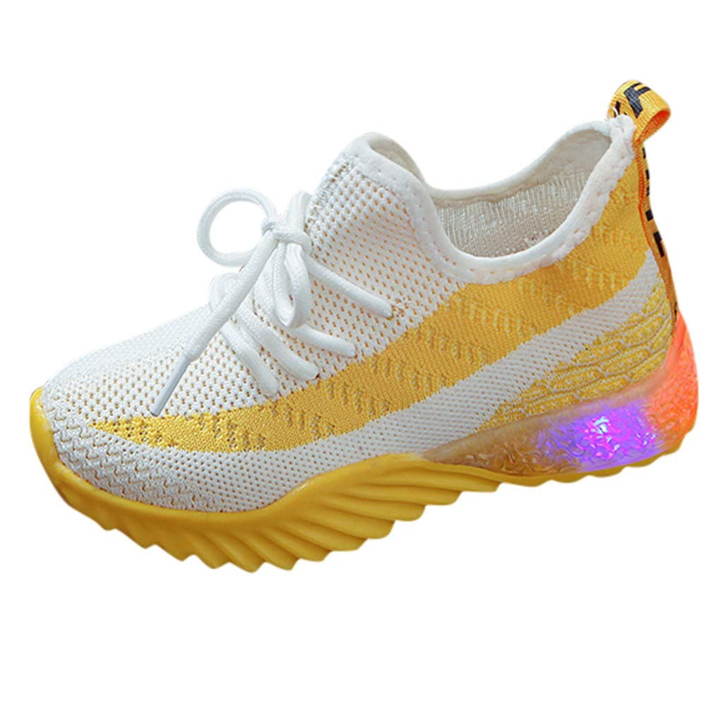 Kauneus Boy's Girl's Bling Tennis Breathable Lightweight Sneakers Party Favors for Kids (Toddler/Little Kid/Big Kid) Yellow by Kauneus Kid Shoes NEW