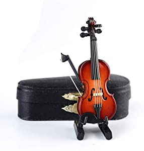 Dselvgvu Wooden Miniature Violin with Stand,Bow and Case Mini Musical Instrument Miniature Dollhouse Model Ornament Home Decoration (3.15