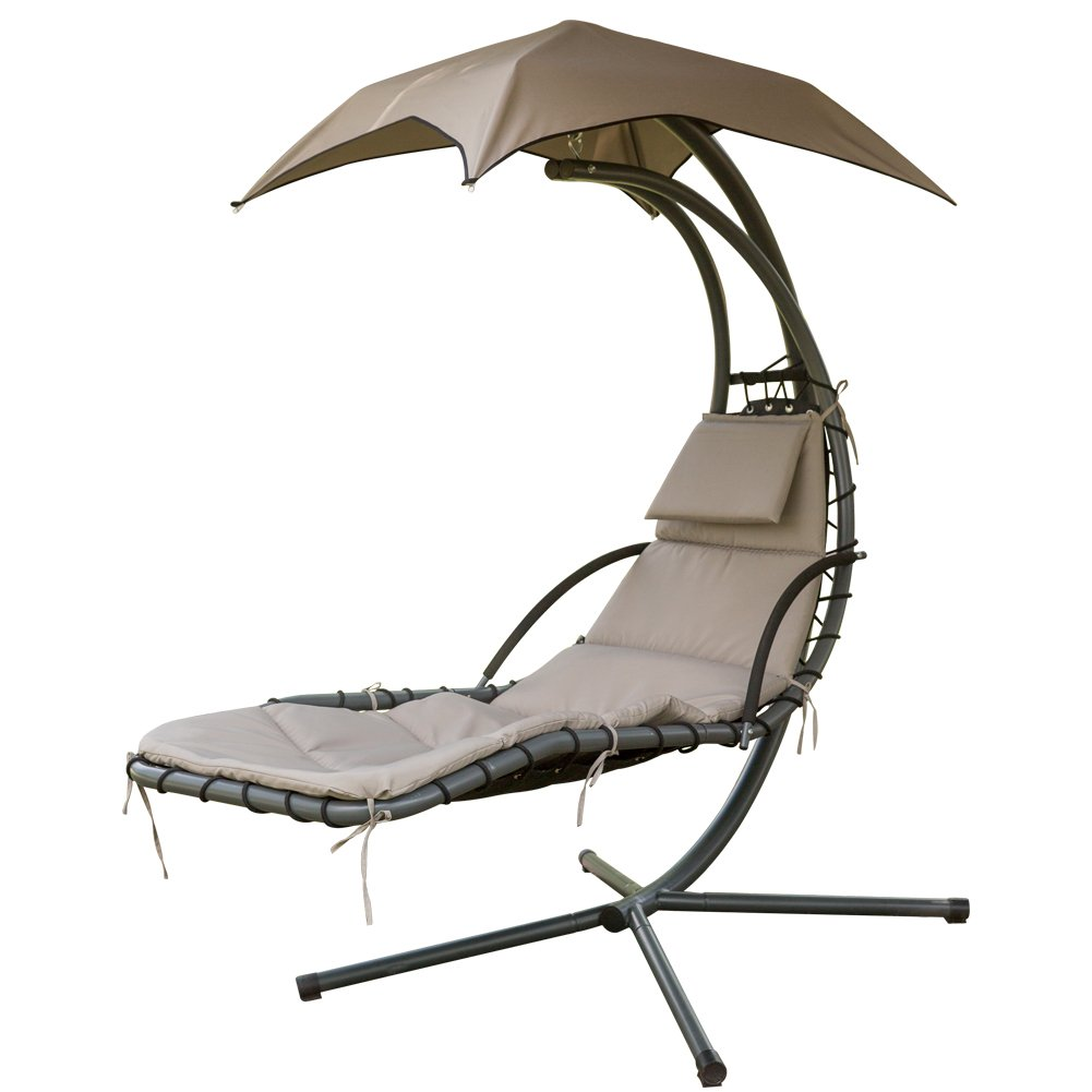 PatioPost Outdoor Hanging Chaise Lounger Chair Swing Hammock Arc Stand Air Porch Canopy, Brown