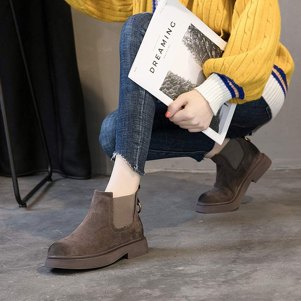 HPZSX Womens Advantage Sneakers Womens Fashion Sneakers Autumn Martin Boots Leather Retro Single Boots,Brown,38