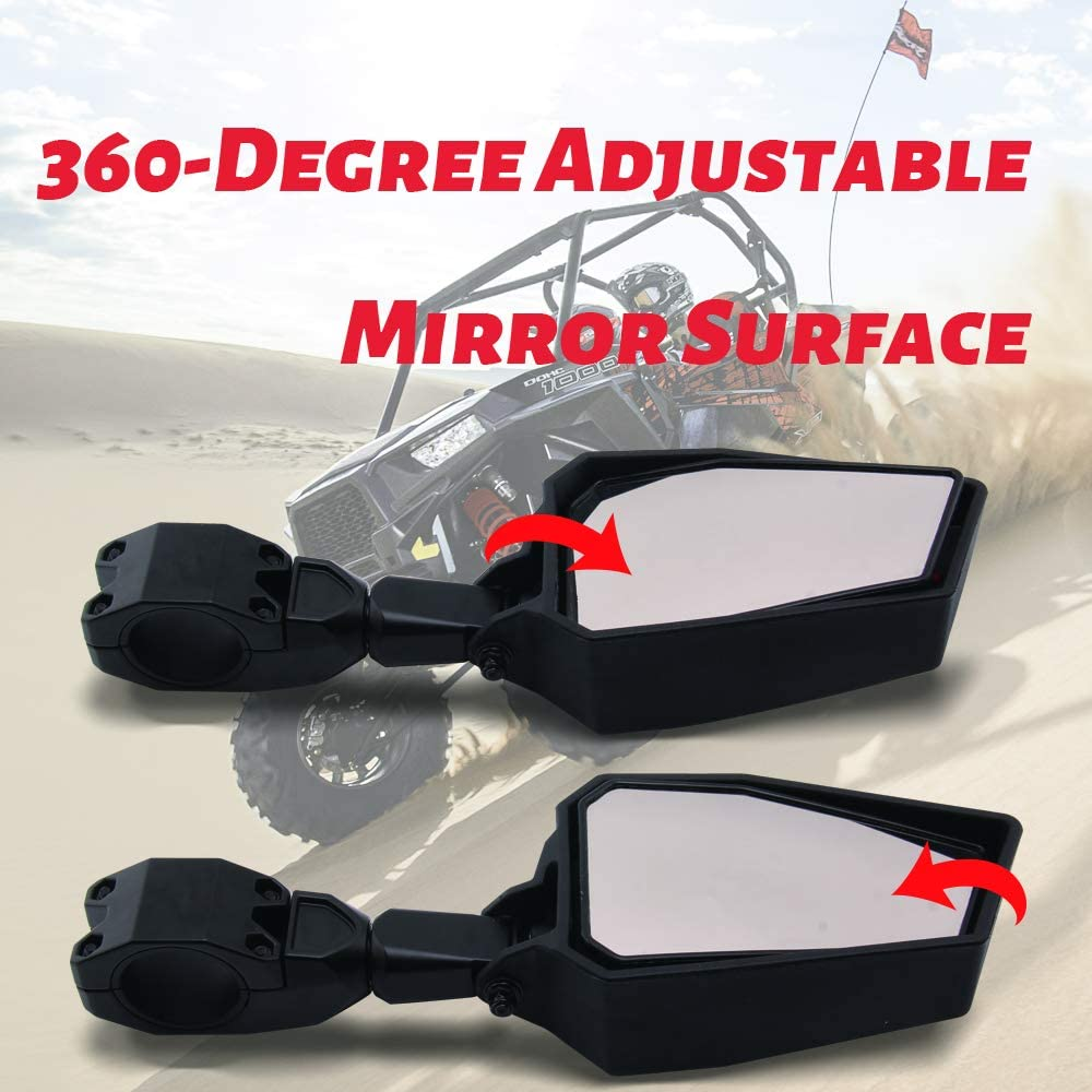 UTV Side Mirrors Tempered Glass Rear View Mirror High Impact Shatter Proof Glass Mirror for 2008-2020 Polaris RZR 800 900 1000 XP Turbo Ranger for 1.75 Roll Bar Cage