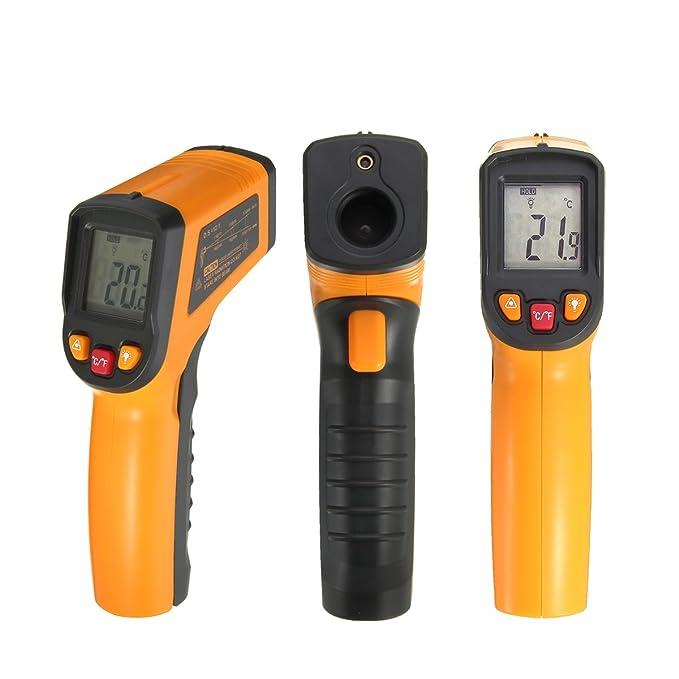 SOLOOP sin contacto digital láser por infrarrojos termómetro -50? - 400? (-58 - 752?) termómetro de infrarrojos pistola de temperatura sin pilas amarillo: ...