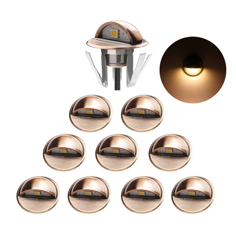 ø1.38'' Low Voltage LED Deck Lighting Kits Outdoor Recessed Patio Stairs Steping Lights IP65 Waterproof for Landscape Yard Decoration, Warm White, Bronze