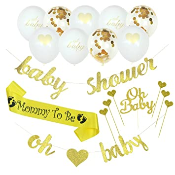 Amazon Com Lubov Baby Shower Decorations Banner Oh Baby Baby Shower