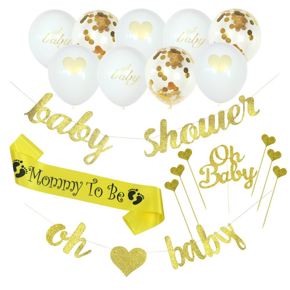 Lubov-Baby Shower Decorations Banner Oh Baby Baby Shower Confetti Gold White Balloons, Neutral Decor, Party Supplies, Gender Reveal, Pregnancy Announcement with Extra Cake Toppers, Sash.