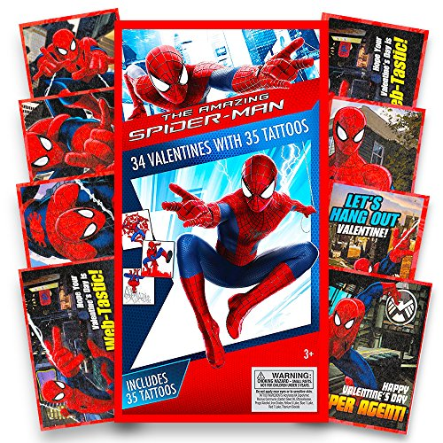 Marvel Spiderman Valentines Cards for Kids Toddlers -- 32 Spider-man Valentine Cards with Tattoos (Boxed School Classroom Pack)