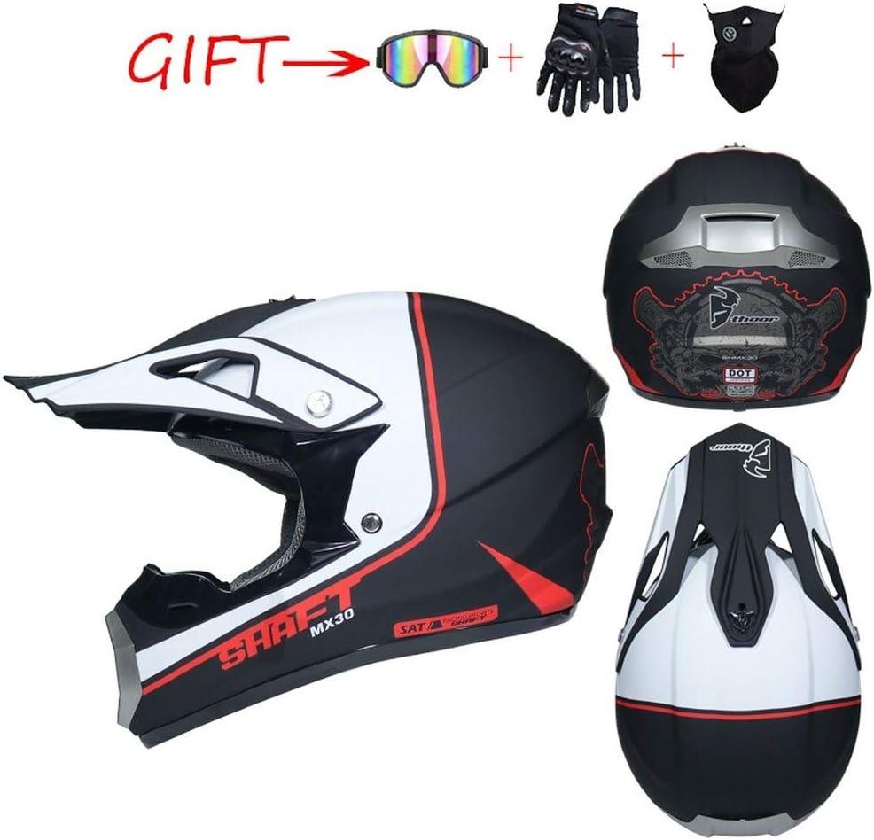 Rot und wei/ß, L 4 St/ück MIBDF Mopedhelm Motocross Helm Herren,Kinderhelm,Motorradhelm Set Damen Fullface Motorrad Mountainbike Helme mit Visier Brille Handschuhe Maske