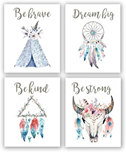 4 Set - Inspirational Quote Boho Tribal Art Print - Dreamcatcher Feathers Flowers with Bohemian Wall Art Printing - Motivational Canvas Poster for Kid's Room Girls Bedroom Home Decor(Unframed,8