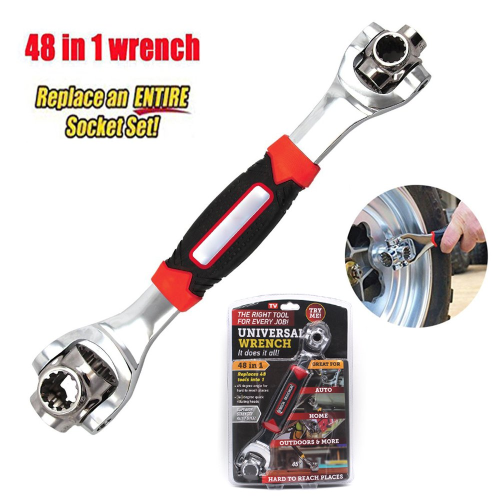 Tiger Wrench 48 Tools In One Socket Works with Spline Bolts 360 Degree Universial Wrench Furniture Car Repair Hand Tools