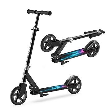 ENKEEO Patinete Plegable Scooter Kick con Manillar Ajustable, Ruedas Extra-Grande, Sistema de Frenos Inteligente y Seguro
