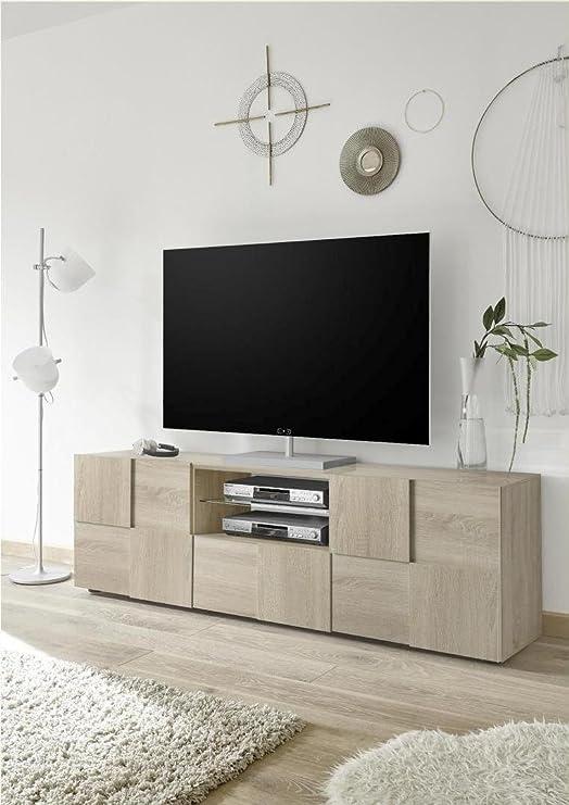 arredocasagmb. IT Mueble para TV Moderno Roble Salón Dame 02 Mueble Recipiente diseño Madera: Amazon.es: Juguetes y juegos