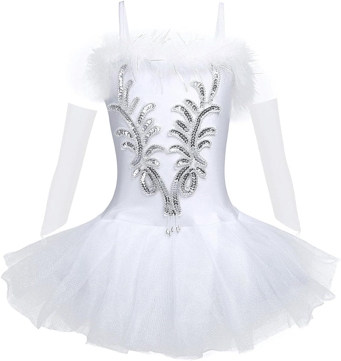 Yartina Kids Girls Swan Lake Ballet Dance Tutu Dress Performance Costume Sequins Leotard with Long Gloves and Hair Clip Set