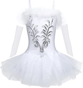 FEESHOW Girls' Shiny Leotard Ballet Tutu Skirt Dress Swan Dance Costume with Long Gloves and Hair Clip
