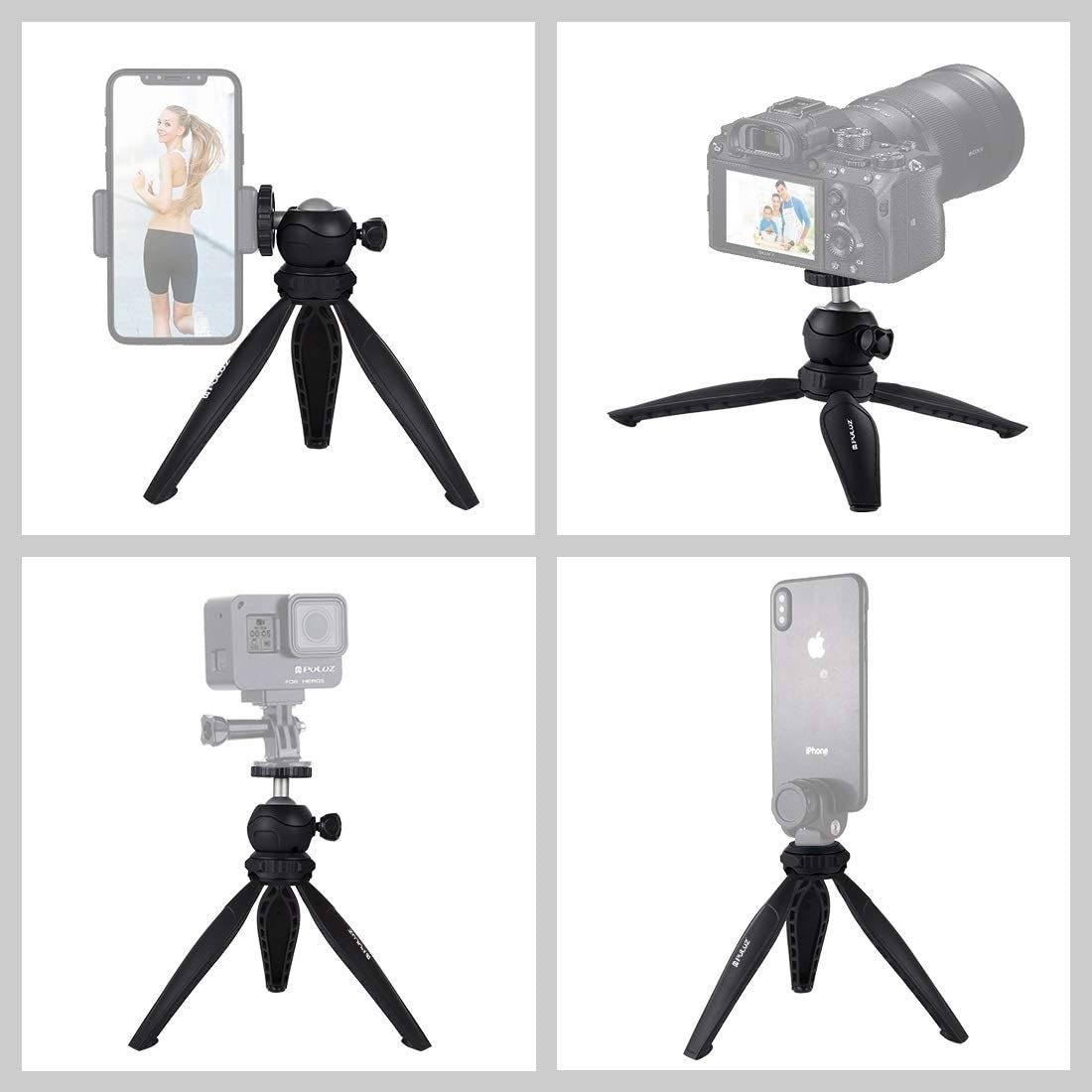 MEETBM ZIMO,20cm Pocket Plastic Tripod Mount with 360 Degree Ball Head for Smartphones Color : Black Black GoPro DSLR Cameras