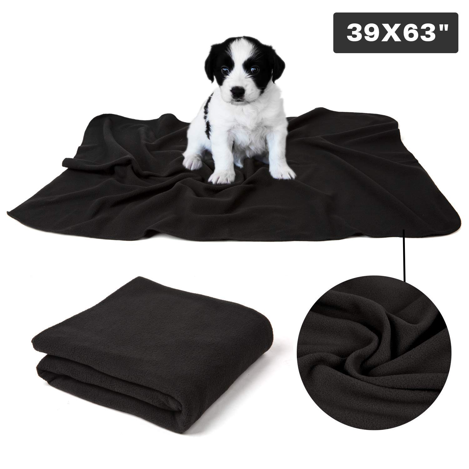Black(39.4x63\ Puppy Dog Cat Fleece Warm Blanket, Pet Soft Sleep Bed Cover for Kitten Small Animals, Black