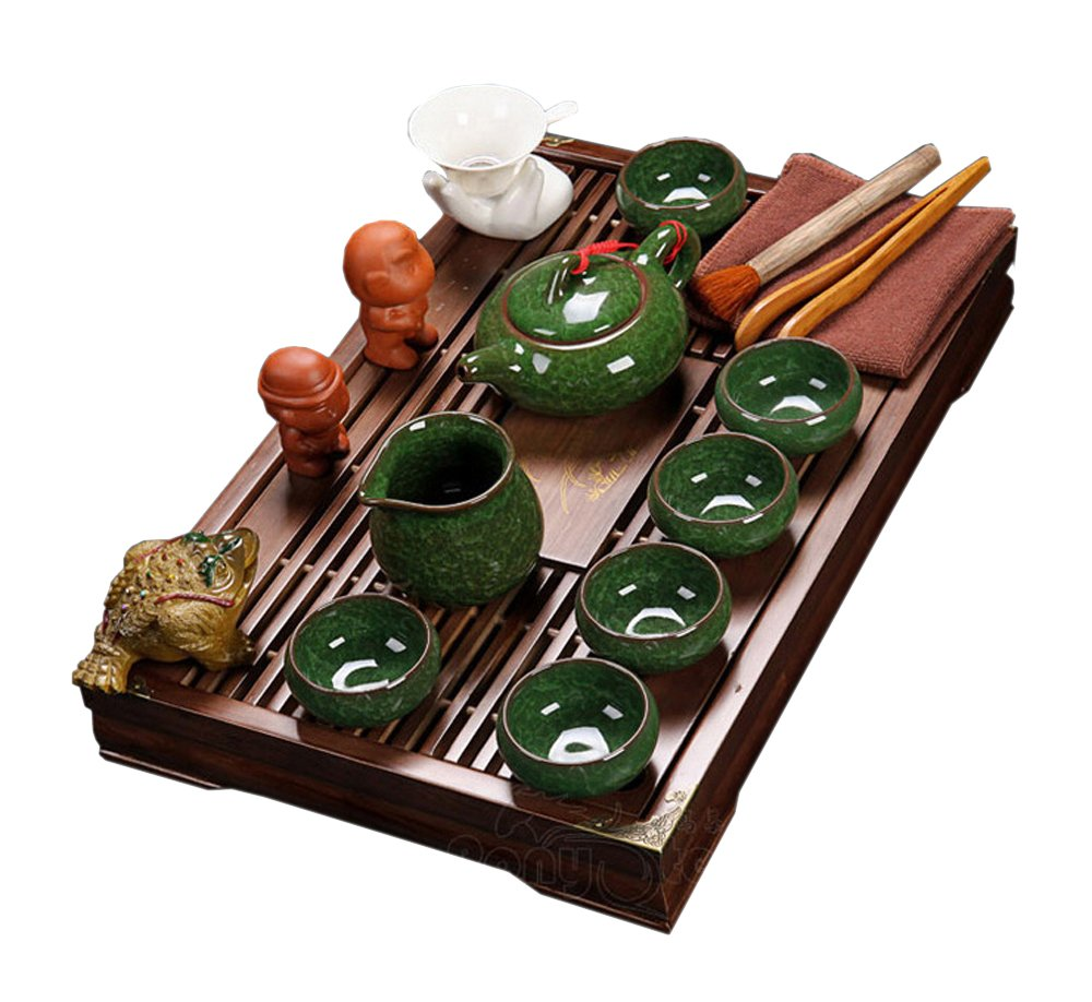 ufengke Exquisite Oriental Ceramic Porcelain Kung Fu Tea Cup Set With Wooden Tea Tray, Chinese Tea Service, Home And Office Use, Dark Green by ufengke-ts