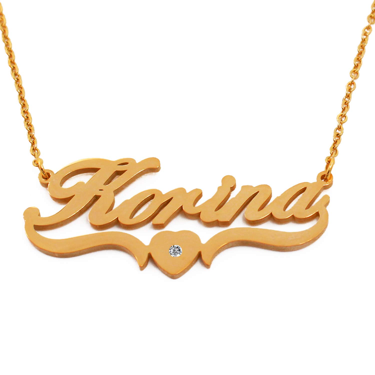 Personalized Custom Name Necklace Korina 18ct Gold Plated Heart Shaped