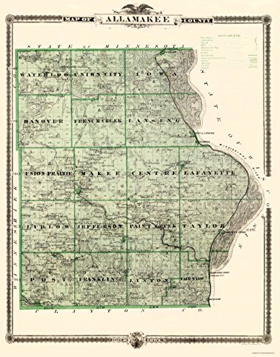 MAPS OF THE PAST Allamakee Iowa Landowner - Andreas 1874-23 x 29.34 - Matte Canvas