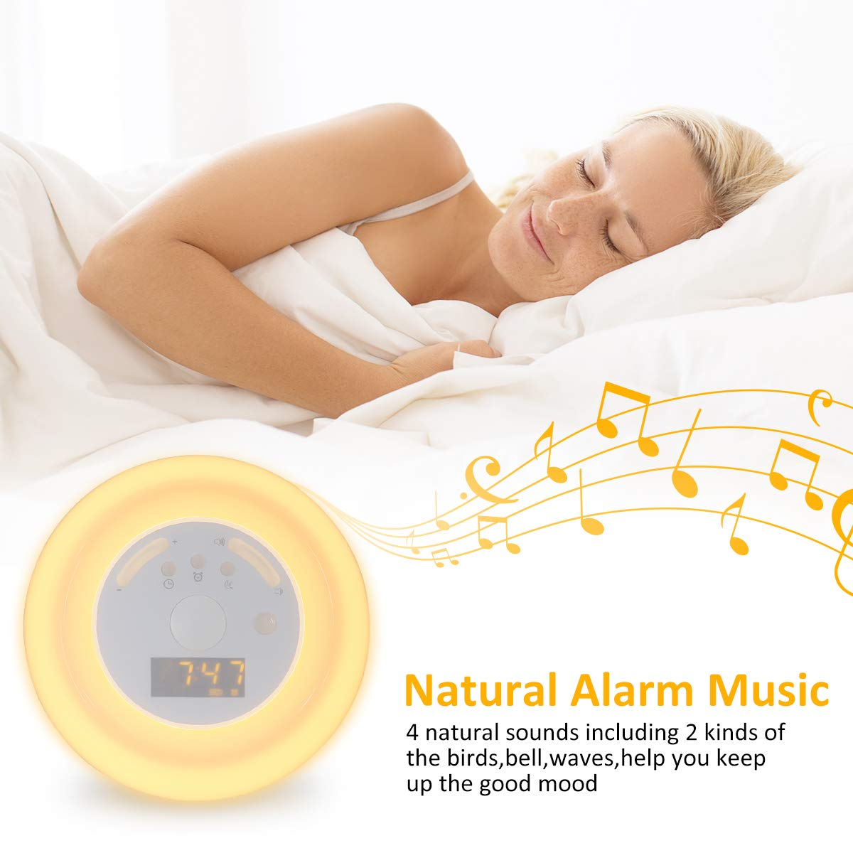 Wake Up Light GLIME Alarm Clock Sleep Aid Light with Sunrise Simulation Snooze Function Natural Sounds Bedside Lamp Multi Light Modes RGB Colours Night ...