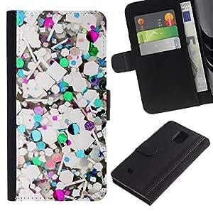 LASTONE PHONE CASE / Lujo Billetera de Cuero Caso del tirón Titular de la tarjeta Flip Carcasa Funda para Samsung Galaxy Note 4 SM-N910 / Abstract Teal Glitter White Purple