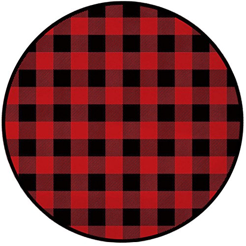 Printing Round Rug,Red Plaid,Lumberjack Clothing InspiredSquare Pattern Checkered Grid Style Quilt Design Mat Non-Slip Soft Entrance Mat Door Floor Rug Area Rug For Chair Living Room,Scarlet Black