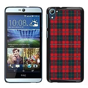 LECELL--Funda protectora / Cubierta / Piel For HTC Desire D826 -- Trullo Rojo líneas modelo escoceses --