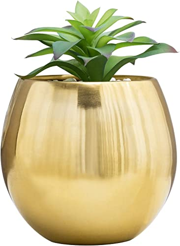MyGift 6-Inch Brushed Brass Plated Metal Round Bowl-Shaped Succulent Planter Vase