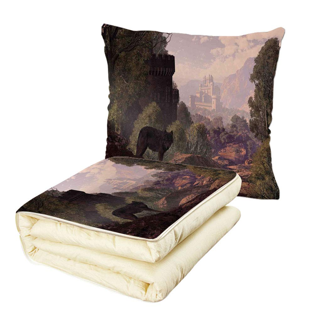 iPrint Quilt Dual-Use Pillow Woodland Decor A Wolf Coming Out of The Woods with a Gothic Castle Lake Boat Off in The Distance Multifunctional Air-Conditioning Quilt
