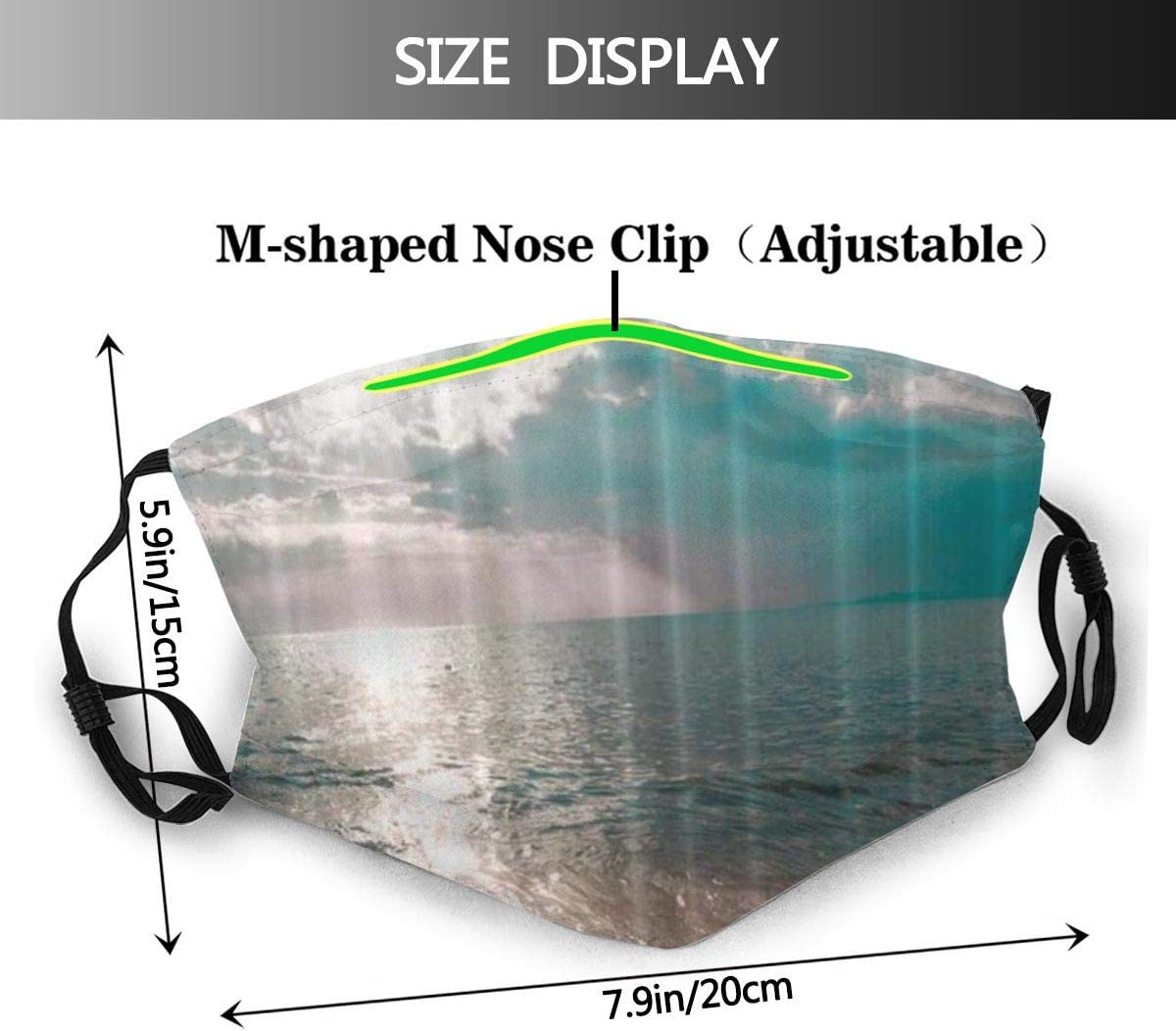JISMUCI Ocean Sunset Golden Sun Blue Green Sea Wave Dust Washable Reusable Filter and Reusable Mouth Warm Windproof Cotton Face