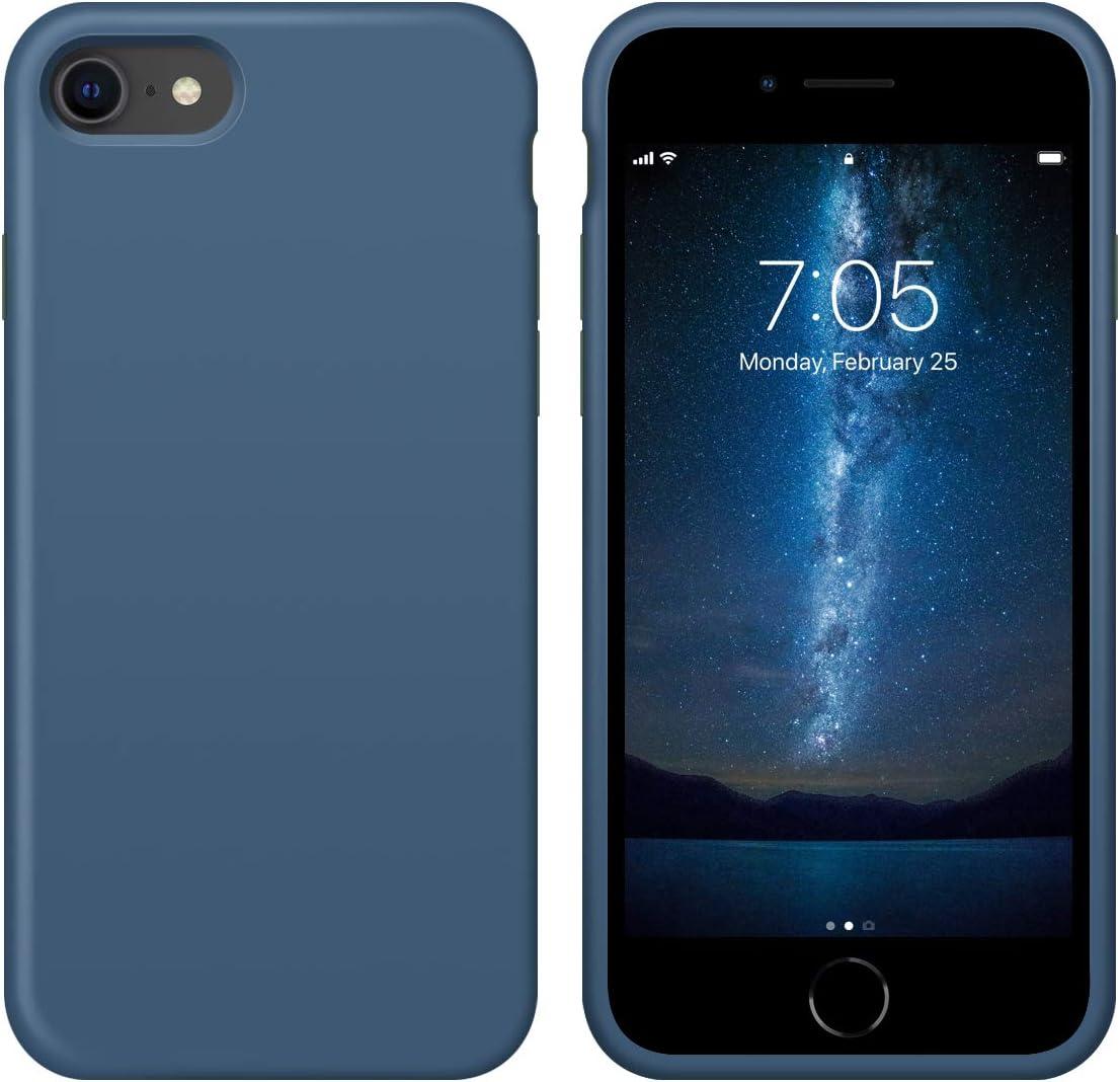 "OUXUL iPhone SE 2020 Case,iPhone 7/8 Phone case,iPhone 7 case Liquid Silicone Gel Rubber Phone Case,iPhone SE 2020/8/7 4.7"" Full Body Slim Soft Microfiber Lining Protective Case (Denim Blue)"