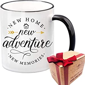 New Adventure, Housewarming Gifts For New Home, Unique First Time House Owner Gift for Men and Women, House Warming Decoration Gifts for Him, Her, Couple, Coffee Mug Tea Cup