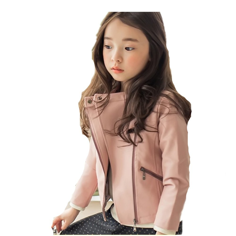 LJYH Girls Faux Leather Jacket Winter Velvet Girls Leather Outwear Pink Jacket