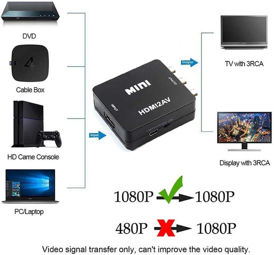 TechCode Video//Audio 1080P HDMI Se/ñal Digital a convertidor AV Compatible con PAL//NTSC Versi/ón Mejorada RCA AV//CVSB Compuesto L//R con un USB Mini Adaptador de Escalador AV