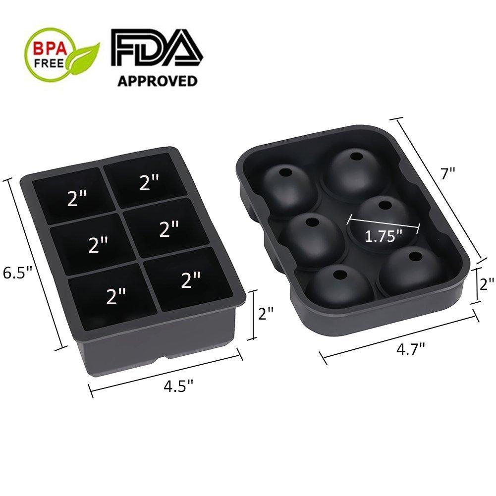 Wiederverwendbar und BPA-frei Kugelf/örmige Eisw/ürfelform Eiskugelform Silikon 7 Rund Eiskugeln Eisw/ürfel mit Deckel