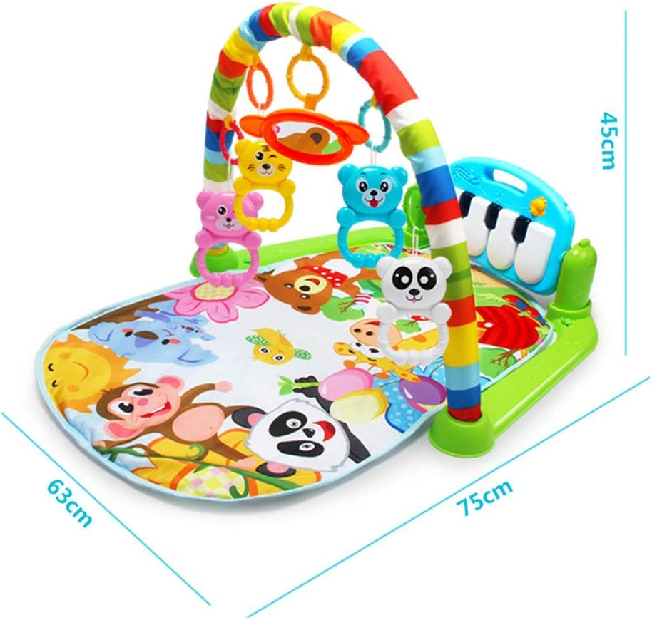 TRIEtree Baby Kick and Play Piano Gym Newborn Music Fitness Rack Play Mat 2 in 1 Infant Game Carpet Crawling Mat Educational Toys for 0-18 Months Baby Green