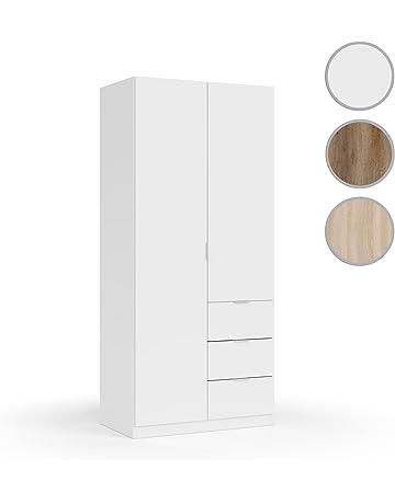 Habitdesign LCX352O Armario ropero Dos Puertas y Tres cajones, Acabado Color Blanco, Medidas: