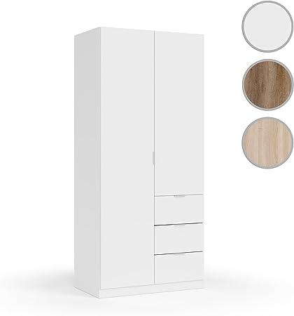 Habitdesign LCX352O Armario ropero Dos Puertas y Tres cajones, Acabado Color Blanco, Medidas: 200x90x52 cm de Fondo: Amazon.es: Hogar