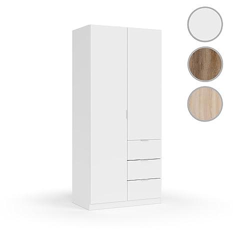 Habitdesign LCX352O Armario ropero Dos Puertas y Tres cajones, Acabado Color Blanco, Medidas: 200x90x52 cm de Fondo