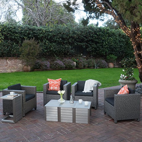 Eden Outdoor 4 Piece Wicker Club Chairs w/ Cushions & Aluminum C-Shaped Tables (8, Dark Grey/Silver)