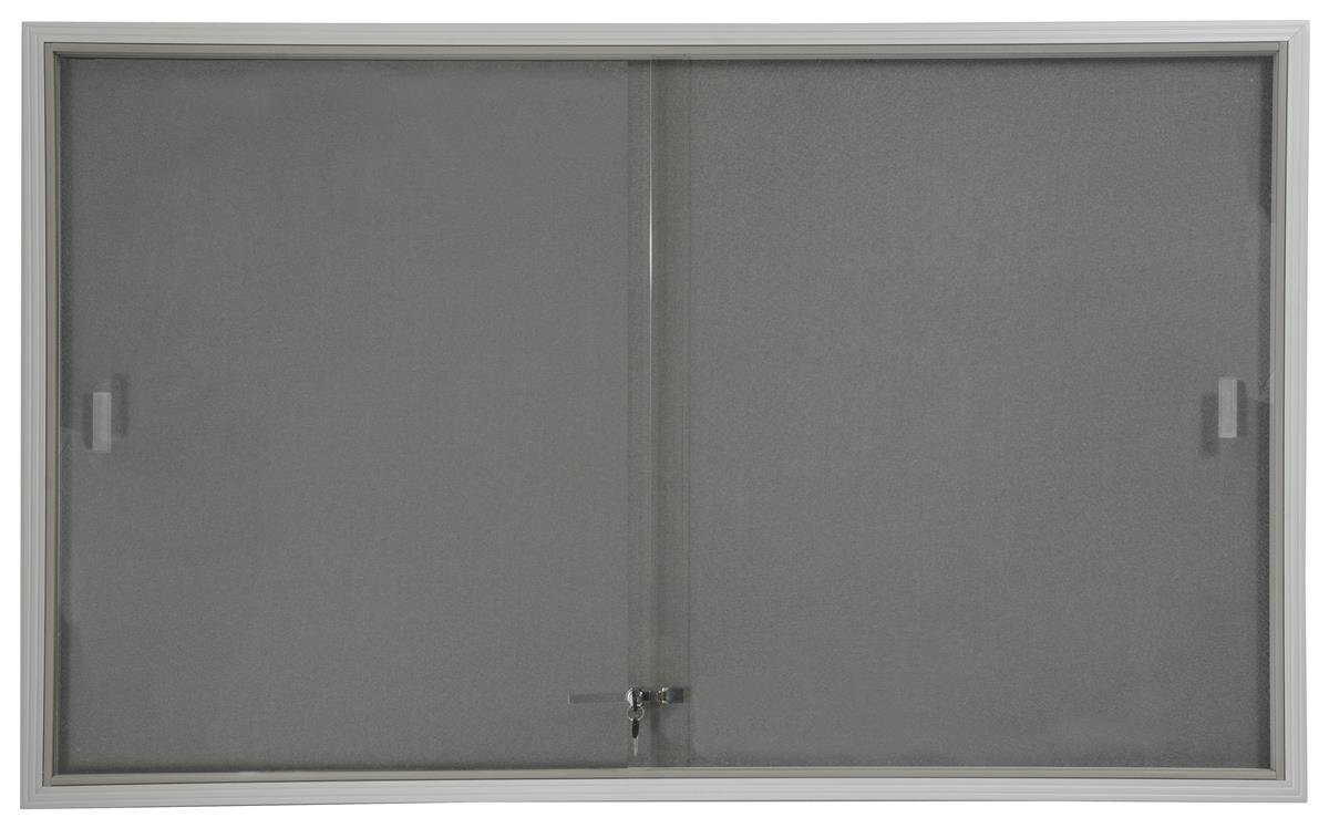 Displays2go 5 x 3 Inches Indoor Bulletin Board with Sliding Glass Doors, 60 x 36 Inches Enclosed Notice Board with Gray Fabric Interior, Aluminum (FBSD63SVLG)