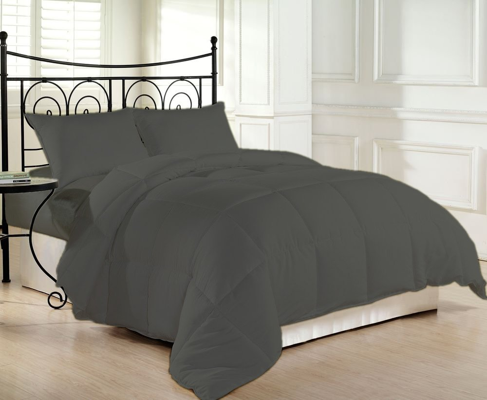 1000 Thread Count Luxurious and Hypoallergenic 100% Egyptian Cotton Down Comforter Grey California King By Kotton Culture Solid (Cocoon Feel 200 GSM Summer Weight Microfibre filling)