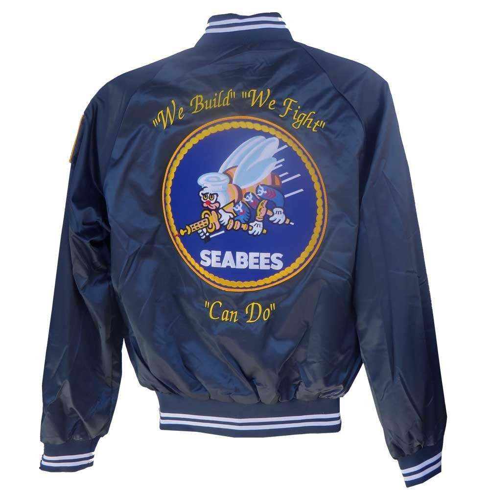 Honor Country Seabees Satin Jacket with We Build We Fight Can Do J4N-Blue(2XL)-$P