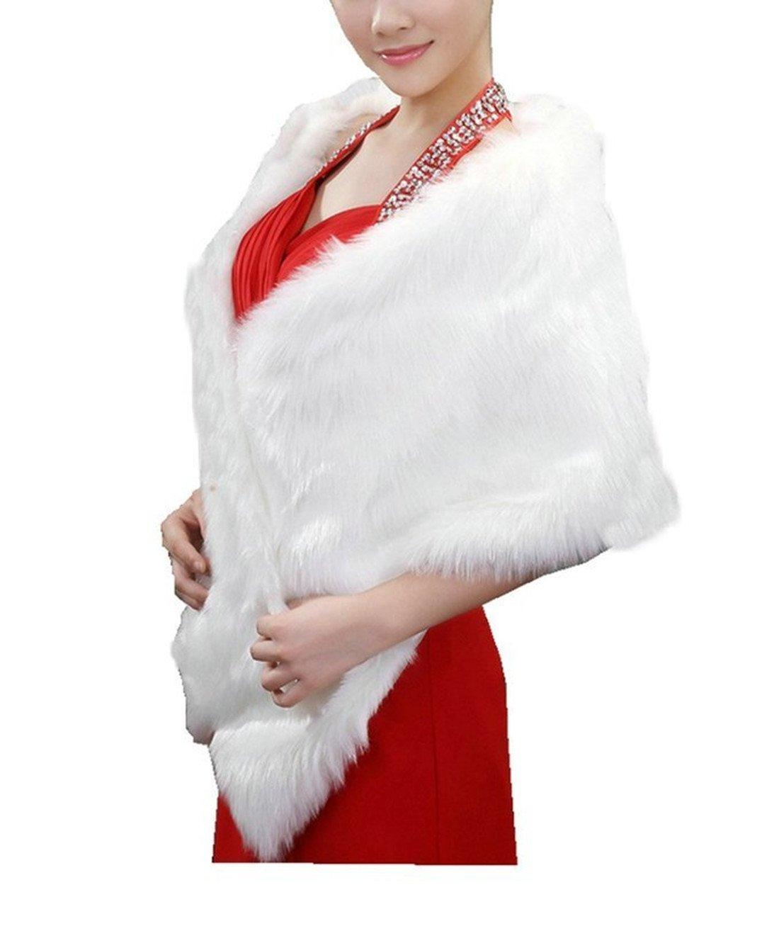 APTRO Women's Faux Fur Warm Dress Stole Shawl for Winter Weddings Style 1