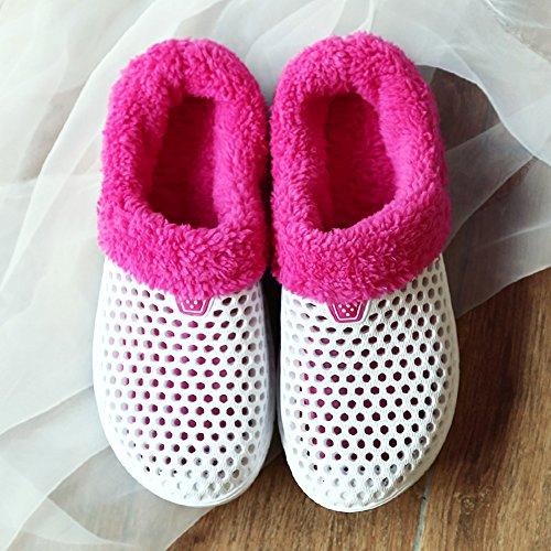 Zapatillas Calentamiento de zueco invierno de felpa YUTUTU interior exteriores antideslizante Blanco para de Zapatos zapatos playa de Unisex jardín de 4ZqPZYw