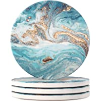 Lahome Blue Marble Style Coasters - Round Drinks Absorbent Stone Coaster Set with Ceramic Stone and Cork Base for Kinds…