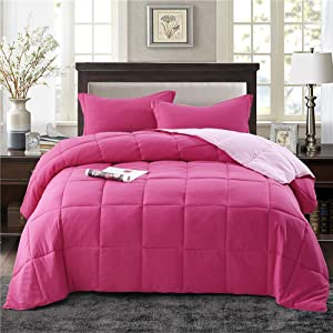 HIG 3pc Down Alternative Comforter Set - All Season Reversible Comforter with Two Shams - Quilted Duvet Insert with Corner Tabs -Box Stitched –Hypoallergenic, Soft, Fluffy (Full/Queen, Pink)