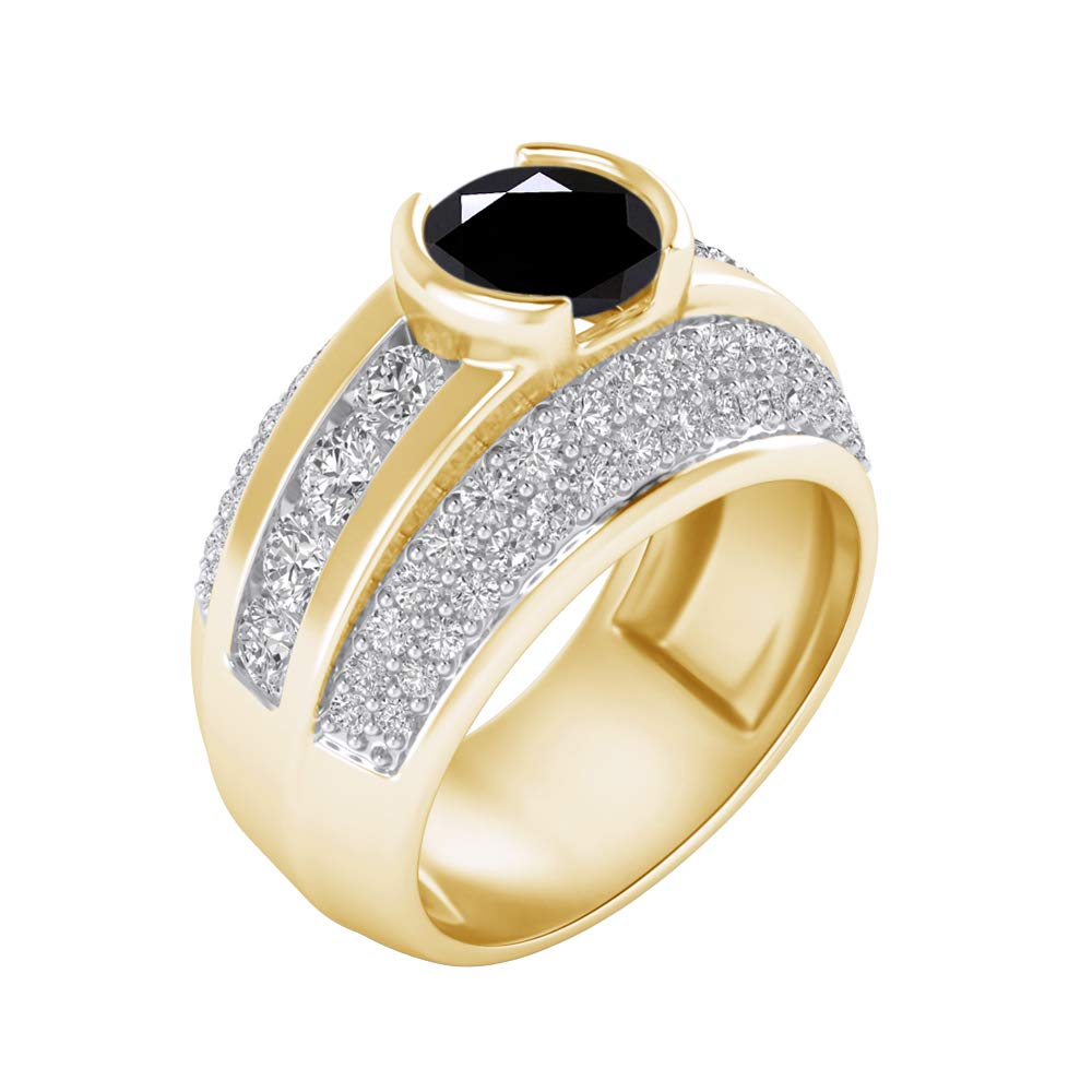 Shakti Jewels 925 Sterling Silver 14k Yellow Gold Plated Round Cut Black /& White Cubic Zirconia Engagement Ring for Womens