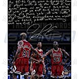 NBA Chicago Bulls Dennis Rodman Bulls Signed 16x20 Story Photo about 95-96 Team
